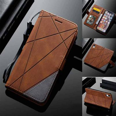 Luxury Matte PU Leather Case Credit Card Slots Stand Holder Phone Flip Covers For iPhone Samsung Huawei Xiaomi Redmi Motorola