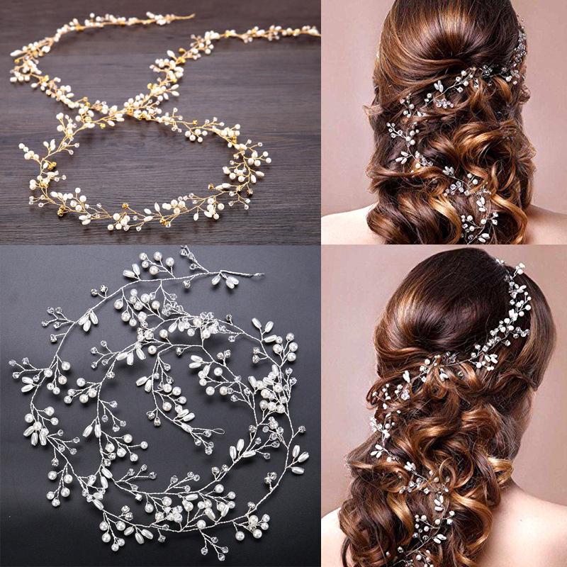 Тиара искусственного жемчуга роскошные свадьбы волос цепь головной убор свадебный горный долго