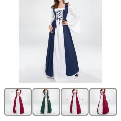 Great Maxi Vintage Royal Square Neck Halloween Dress for Cosplay Medieval Dress