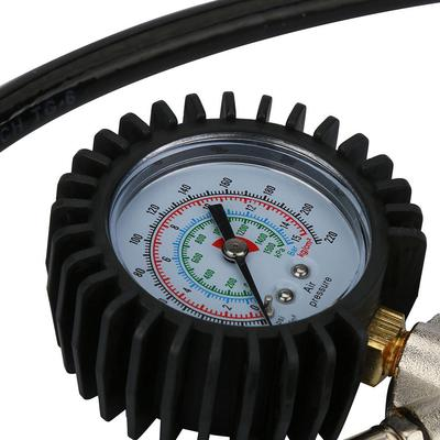 220 PSI Pistol-Type Air Chuck With Dial Tire Inflator Gauge Flexible Hose
