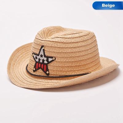 Parche estrella gorra niños lindos sombrero de vaquero al aire libre verano  paja sombrero niños niñas 5f7c63f7a76
