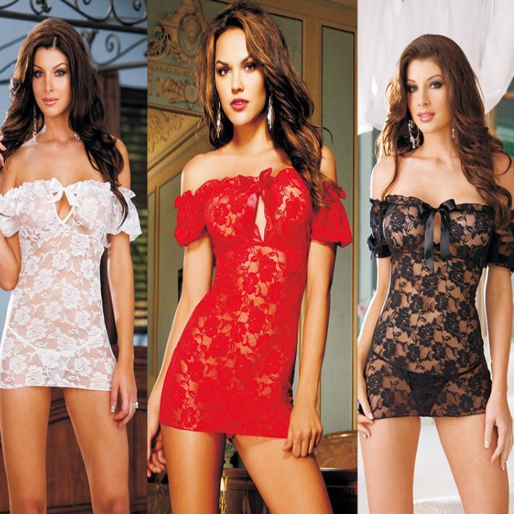 Сексуальные кружевные прозрачные женское плечо белье пижамы ночной рубашке пижаму + стринги – купить по низким ценам в интернет-магазине Joom