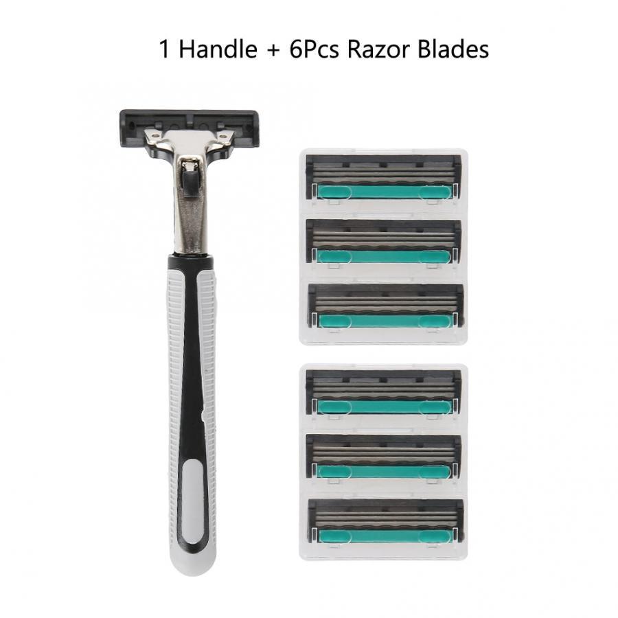 6Pcs Gillettee Fusione Blade для мужчин Руководство Бритвы Классическая борода бритья с ручкой бритья машины – купить по низким ценам в интернет-магазине Joom