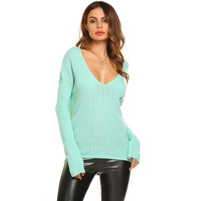 Suéteres de las mujeres V Casual manga larga cuello sólido alto-bajo ajuste  flojo jerseys 7a31cb98504a