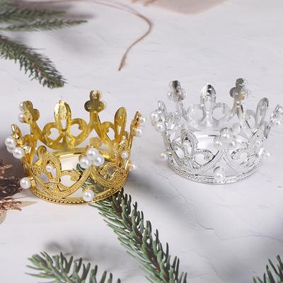 Mini Gold Crown Princess Topper Crystal Pearl Tiara Hair Valentine/'s Day Gift OL