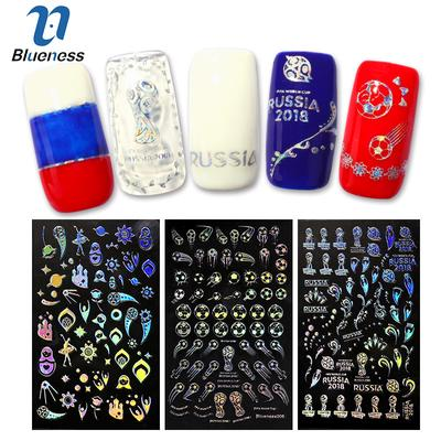 Laser World Cup Chameleon 3pcs Nail Stickers Football Soccer Trophy Art Transfer