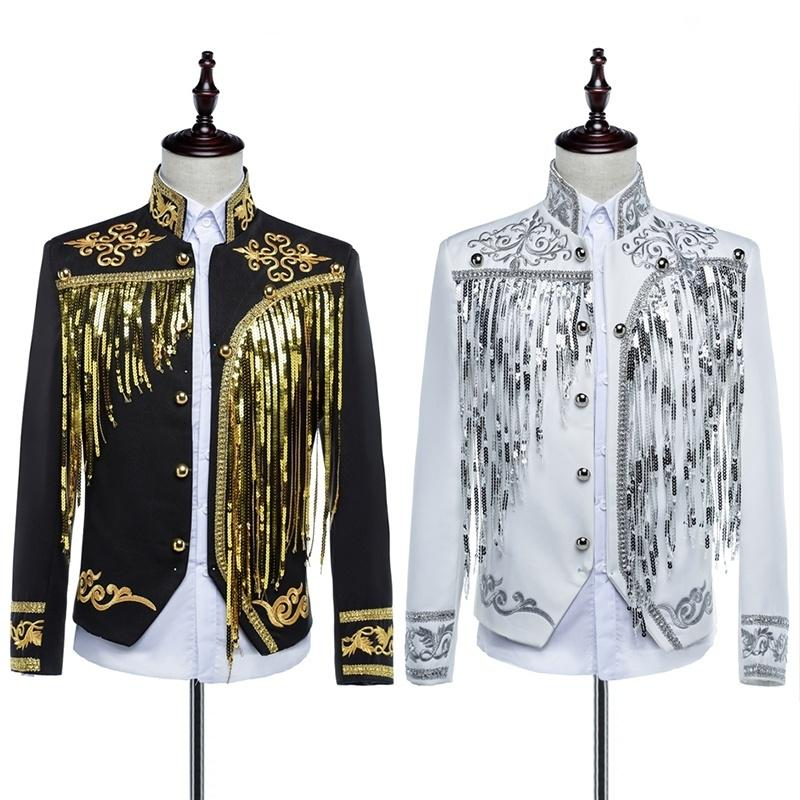Mens Glitter Sequin Hussar Jacket Artillery Military Drummer Steampunk Top Suit