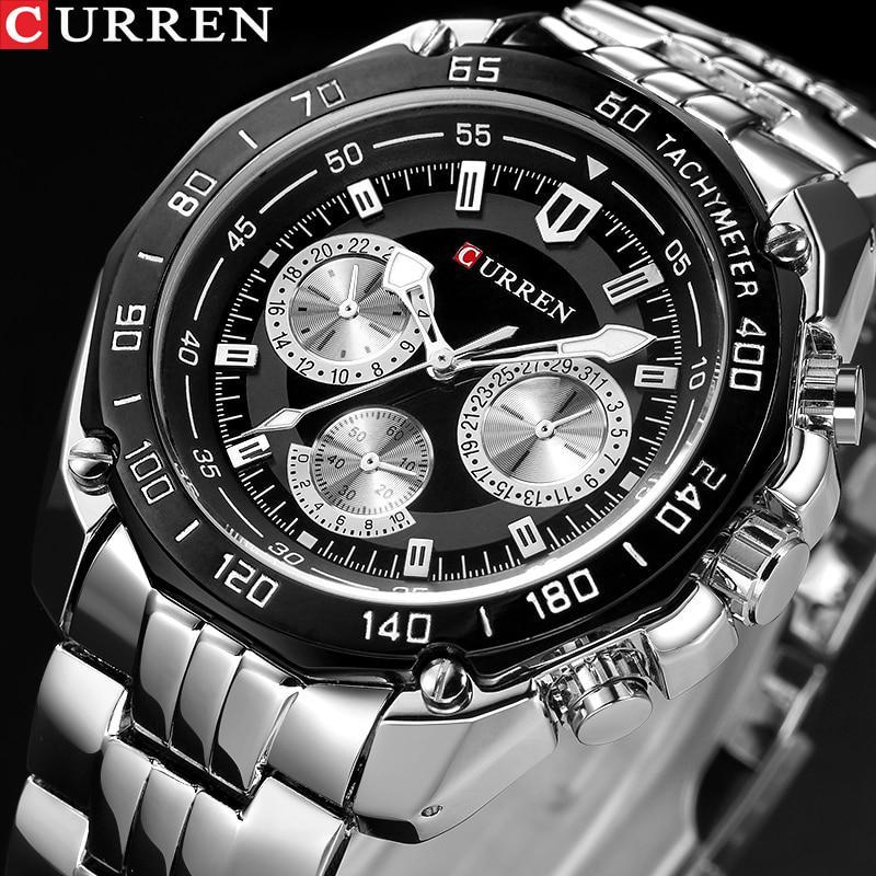 Мужские кварцевые водонепроницаемые противоударные часы от CURREN, на браслете из нержавеющей стали