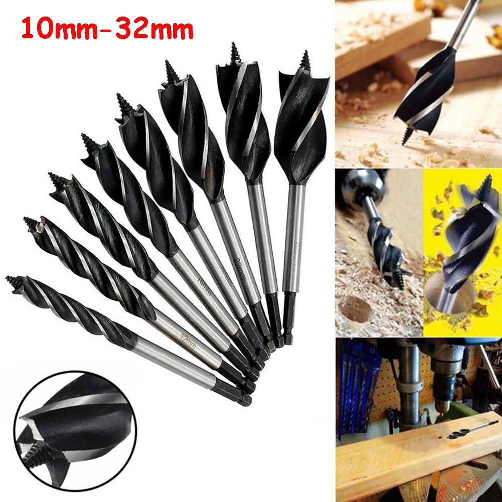 Wood Drill Bit Reaming Drill Wood Auger High-Carbon Steel Fast Cut Woodworking Drill Bit Set 8pcs 10mm,12mm,14mm,16mm,20mm,22mm,25mm,32mm