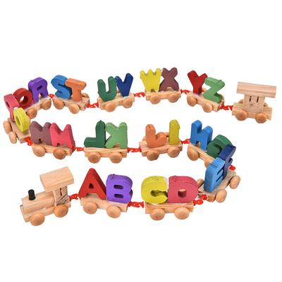 1 Set Wooden Letters Train Alphabets Kids Baby Educational Learning Rope Toy