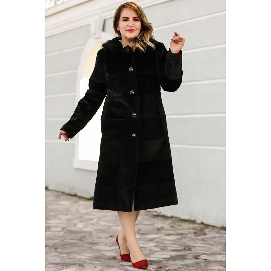 Черное крупное пальто с меховым воротником – купить по низким ценам в интернет-магазине Joom