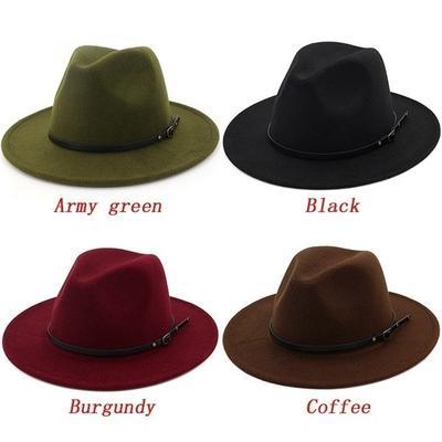 Men / Women Vintage Wide Brim Hat Church Party Ladies Felt Jazz Cap