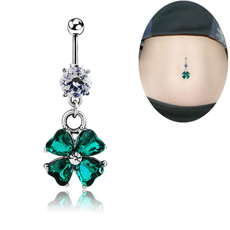 Sparkly Silver Bow Belly Bar Navel Ring Multi Crystal Belly Ring Surgical Steel
