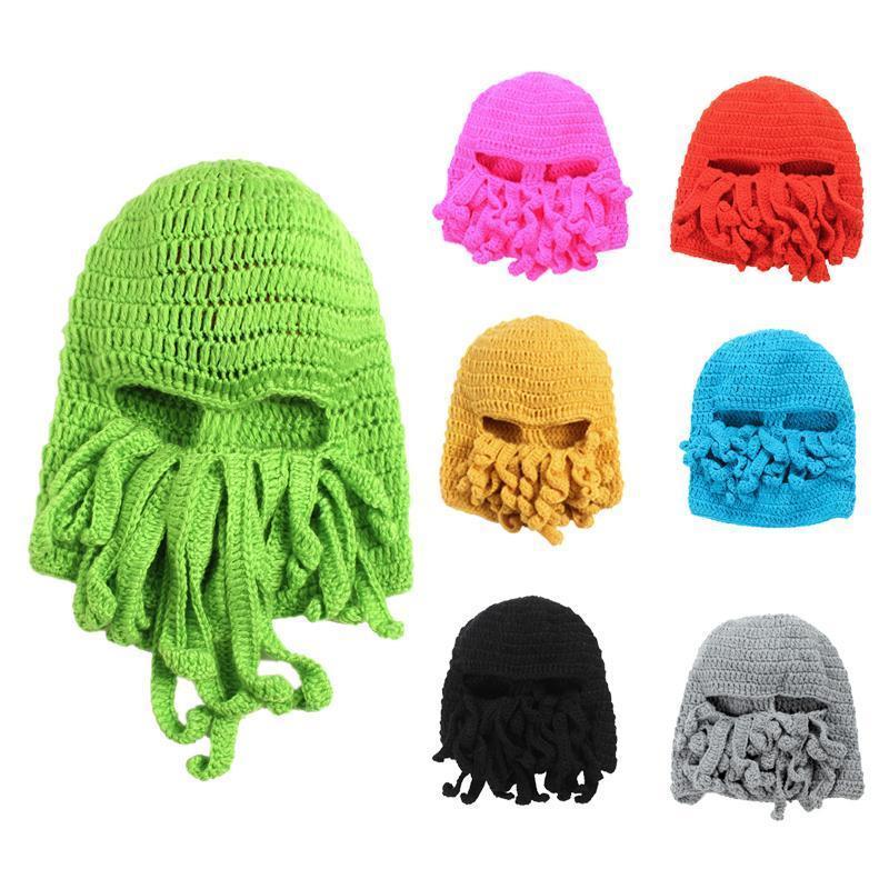 244733acfcb Octopus Unisex Winter Warm Knitted Crochet Hat Mask Balaclava Green ...