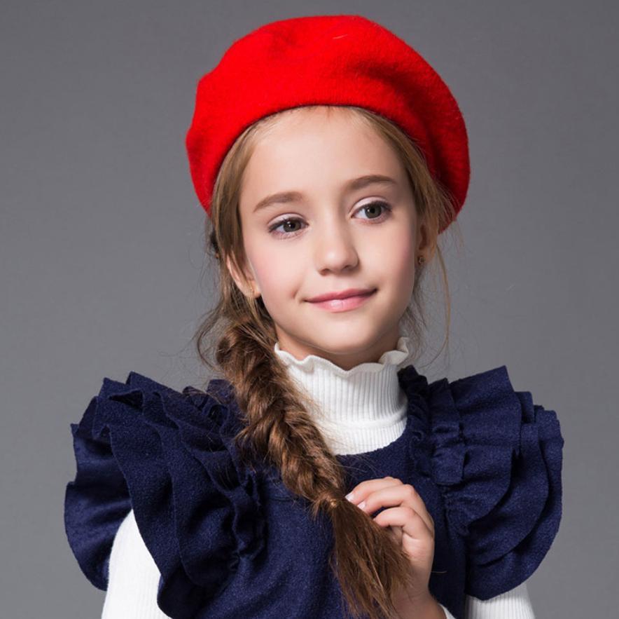 Baby Hat for Girls Vintage Autumn Winter Baby Cap Kids Adjustable Infant Girl Beret Hat Baby 1 Piece