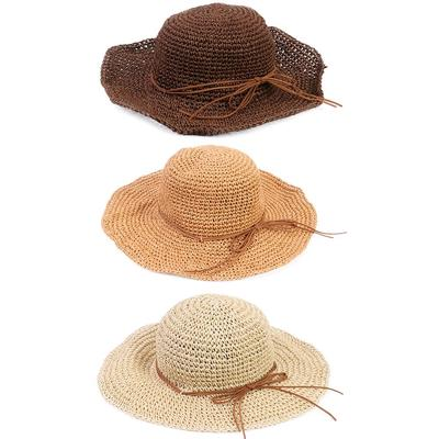 Women/'s  Ladies Summer Wide Brim Ladies Beach Bowknot Sun Visor Foldable Cap