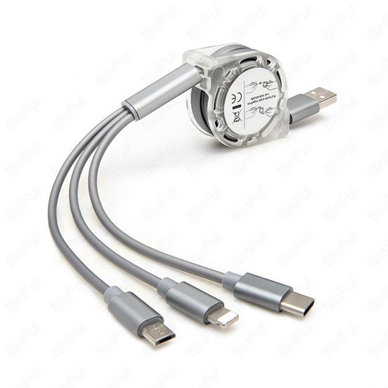 Retractable Multi USB Charging Cable Fast Charger Cord 3 in 1 Thanksgiving Turkey Day with Type C Micro USB Port Connectors