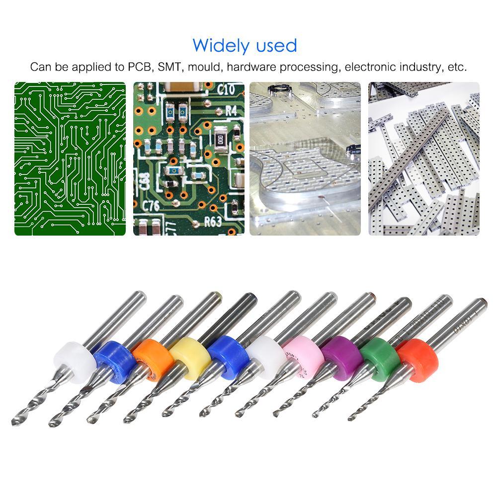 10pcs 0.15-2.5mm PCB Circuit Board Carbide Tungsten Micro Drill Bits 3.175 Shank