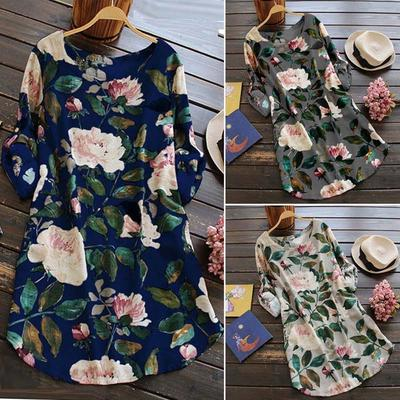 5203bcbb2ffd4 Women Floral Print Mini Dress Summer Party Long Long Sleeve Dress Plus Size  Rock Falda