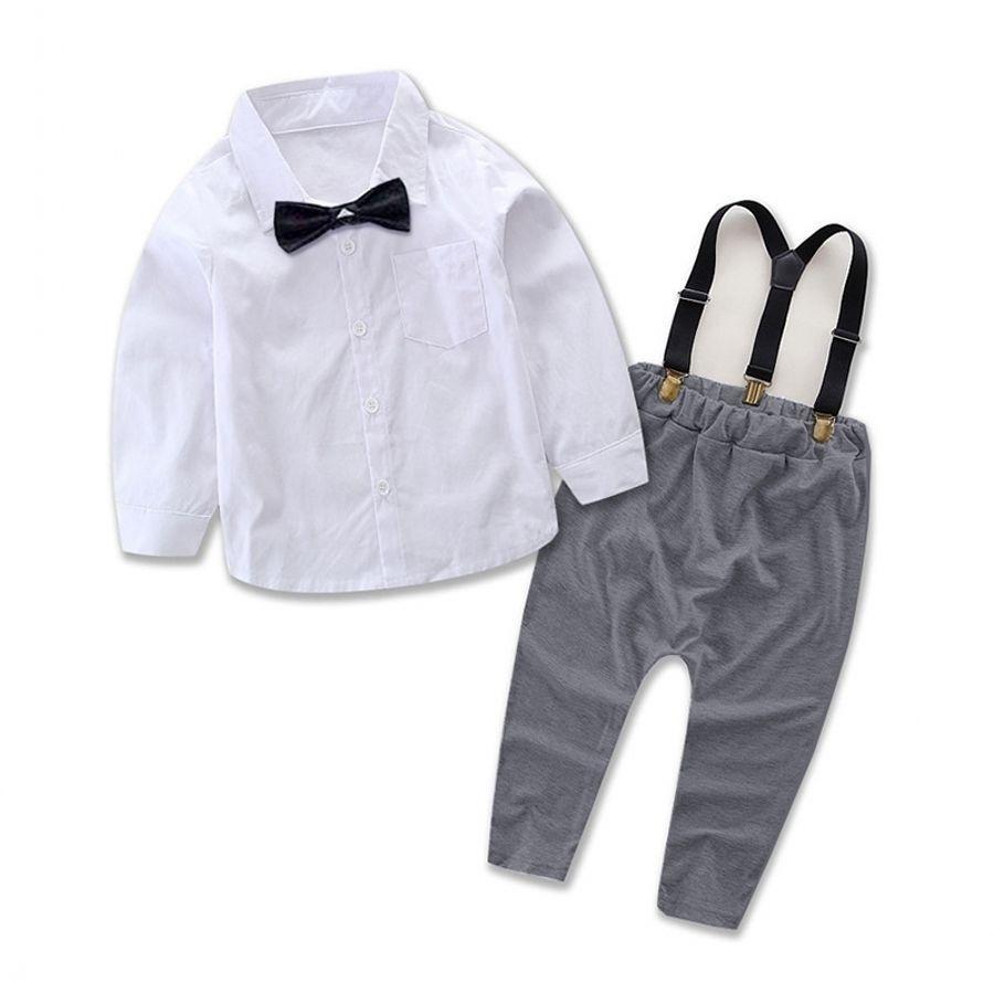 Newborn Toddler Baby Boy Gentleman Bib Pants+Shirt Outfit Clothes Set Suit 2pcs