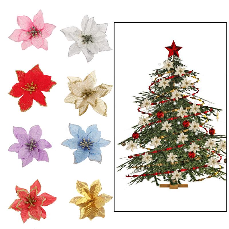 Glitter Hollow Artificial Flower Xmas Tree Ornament Birthday Party Decor Supply
