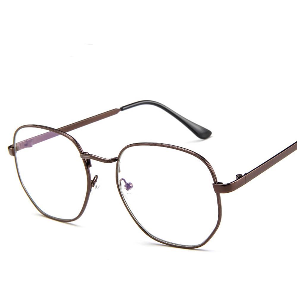 Vintage marco redondo gafas marco de Metal Aviator lente claro gafas ...