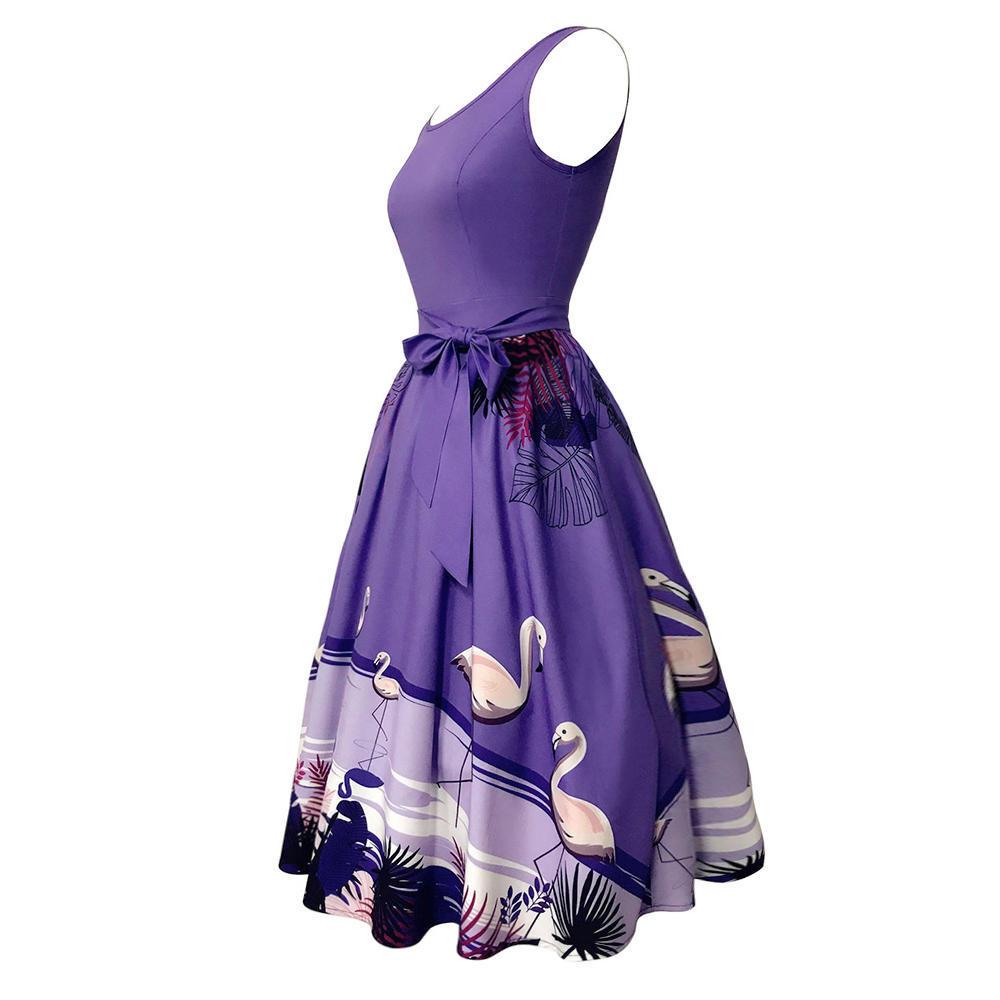 Zaful sin mangas Plus tamaño Vestido de mujer Vintage grabado ...