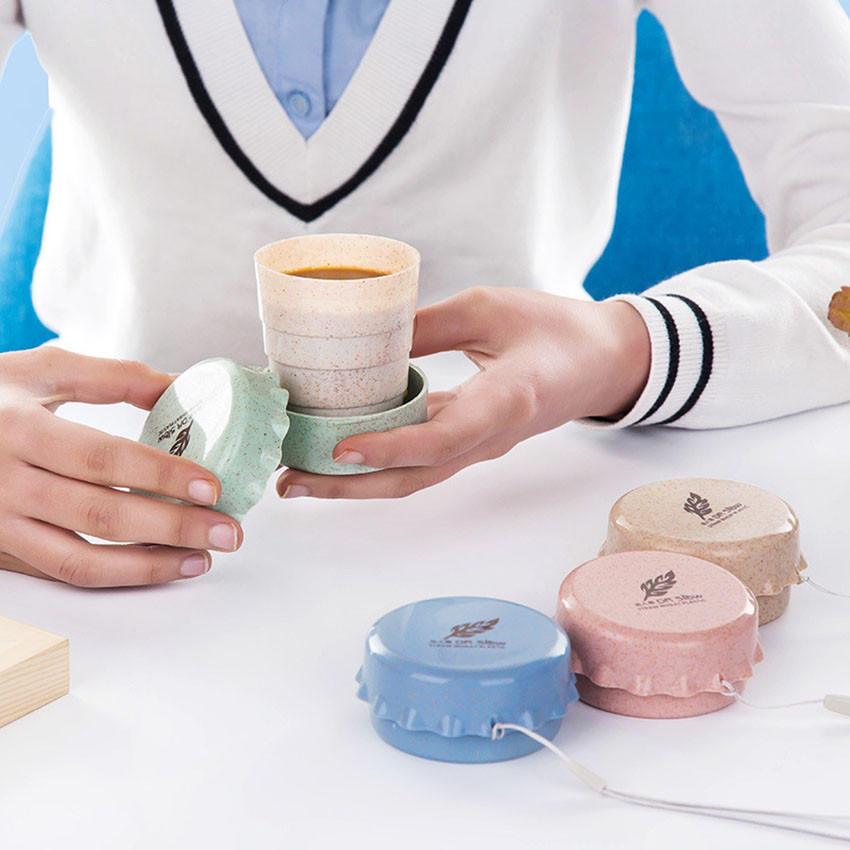 1949小麦创意学生水杯便携式水杯伸缩杯旅行杯压缩杯子居家折叠杯
