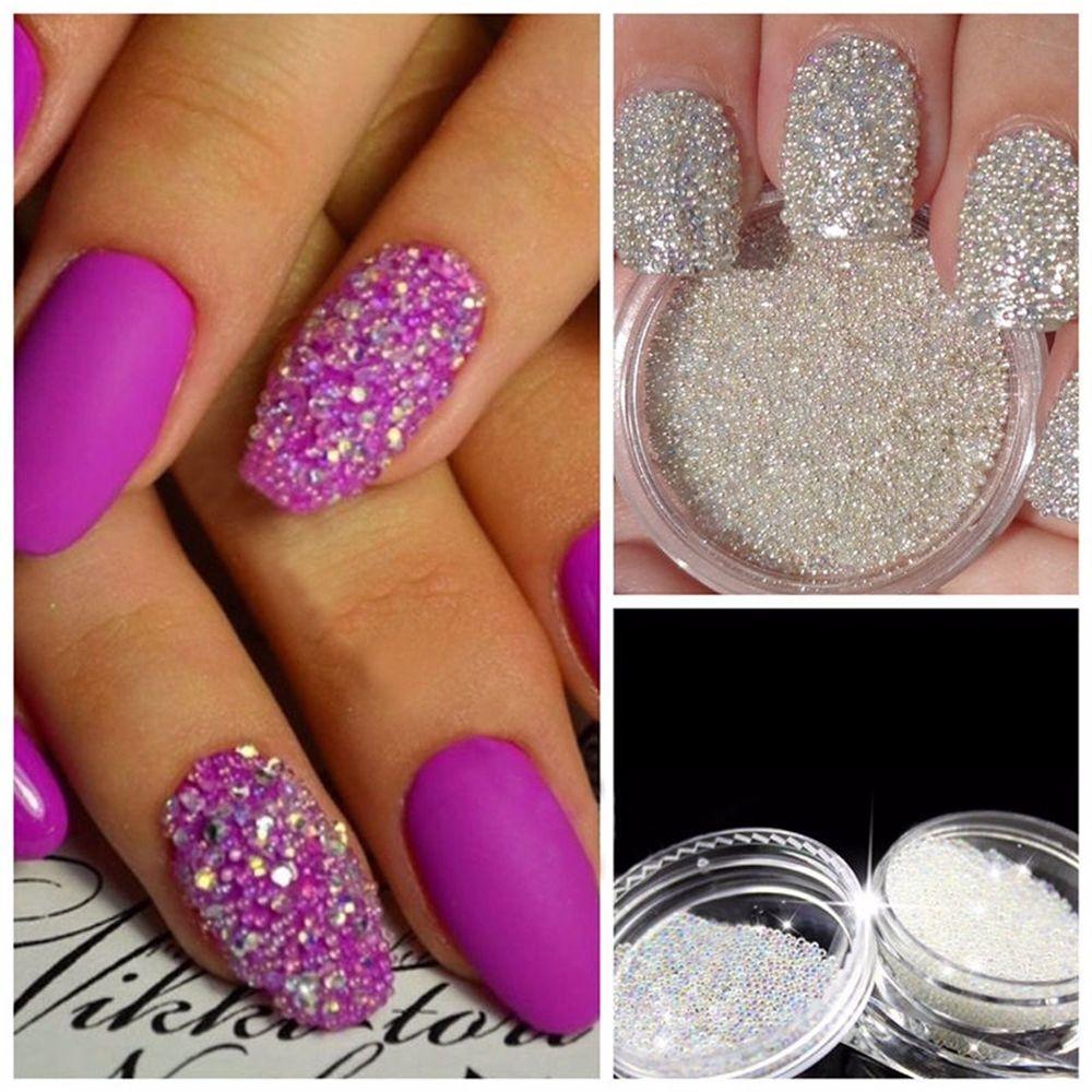 0,6 mm decoración transparente AB cristal uñas arte granos de Caviar ...