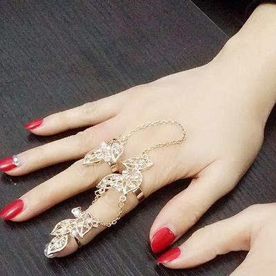 1a72bfe9d3e5 Moda hoja Rhinestone dedo completo nudillo conjunta hueco hacia fuera del  anillo de dedo