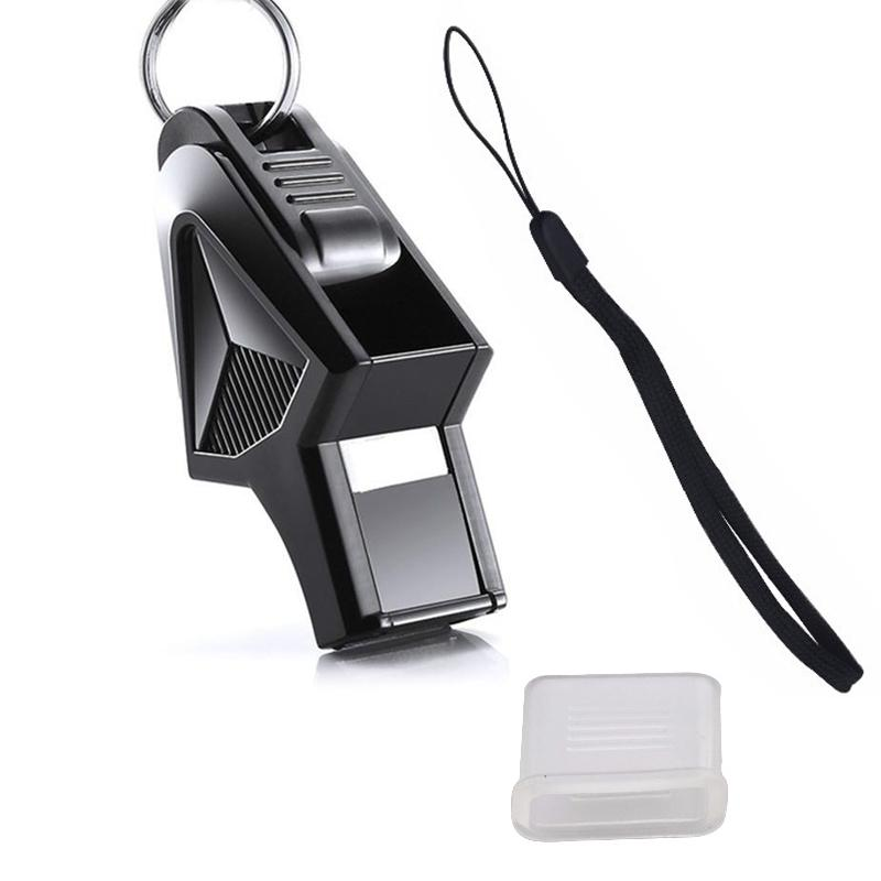 Soccer Referee Metal Whistle Black Cord Emergency Survival Extra Loud Whistle