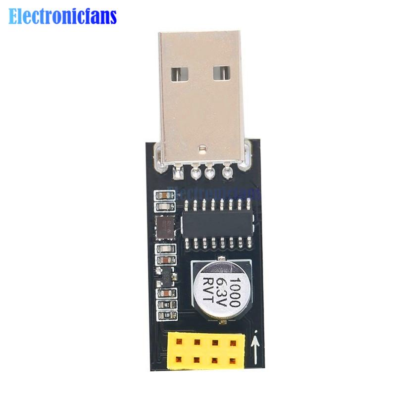CH340 USB to ESP8266 ESP-01 WiFi Module Adapter Computer Phone Wireless Communication Microcontroller Includes ESP-01 Wireless M