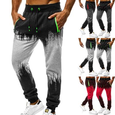Fashion Mens Striped Loose Casual Pocket Splice Summer Bandage Sports Pants