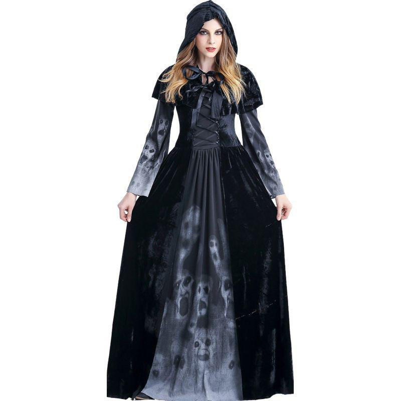 Gothic Witch Girls Halloween Fancy Dress Dark Sorceress Kids Child Costume New