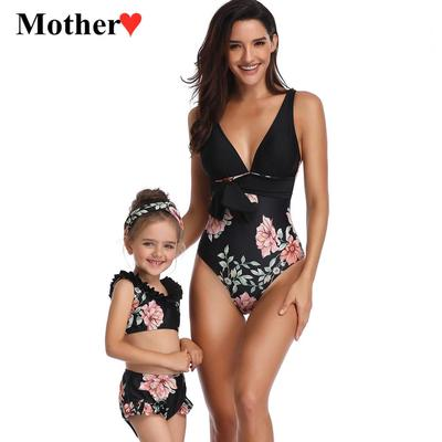 Swimsuit for Mom and Daughter Ruffle Floral Printed Halter Neck Bathing Suit Family Matching Swimwear Bikini Set