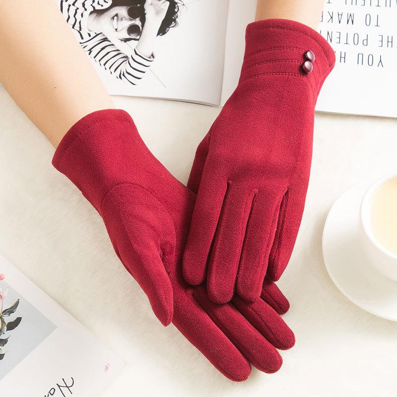 Winter Warm Gloves Three Buttons Knitted Gloves With Rope Wool Velvet Gloves T