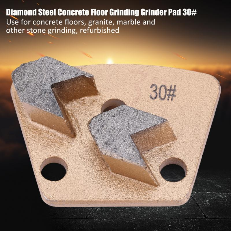 3 Holes 2 Round Teeth Trapezoid Diamond Grinding Disc Pad Low Noise Diamond Concrete Grinding Disc for Grinder Grit 30
