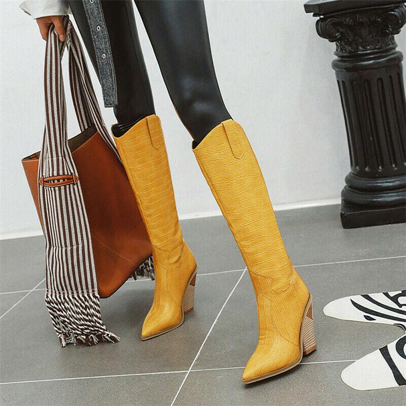 Details about  /Fashion Pointed Toe High-heeled Women/'s Boots Pull On Knee High Pleated Boots Sz