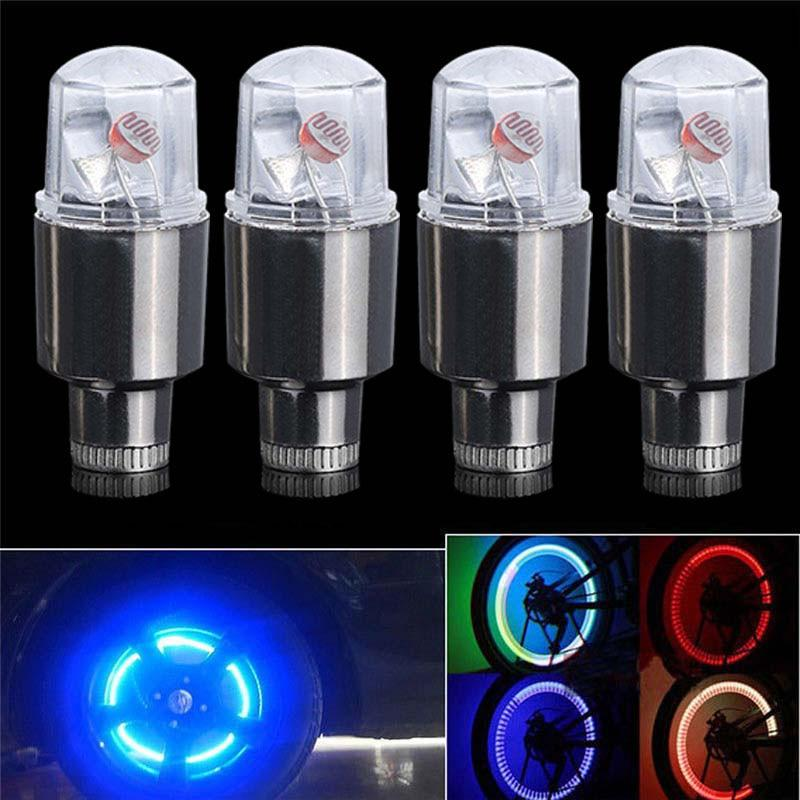 2//4Pcs Rueda Neumático Luces LED intermitente Neón Auto Moto Neumático Válvula Polvo Tapa habló