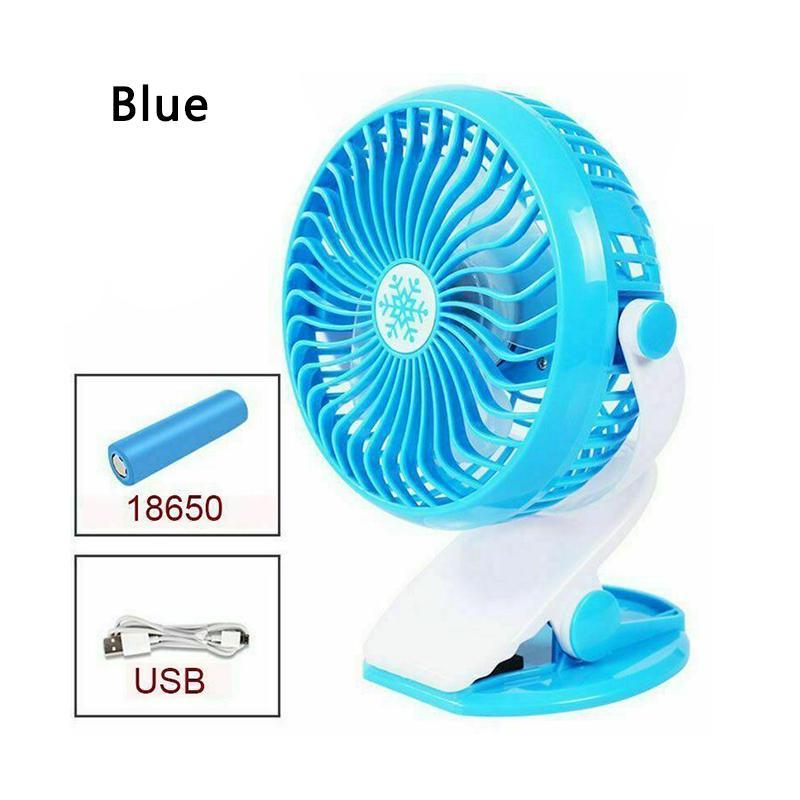 360° Travel Fans Rechargeable USB Clip On Mini Desk Pram Cot Car Fan Portable