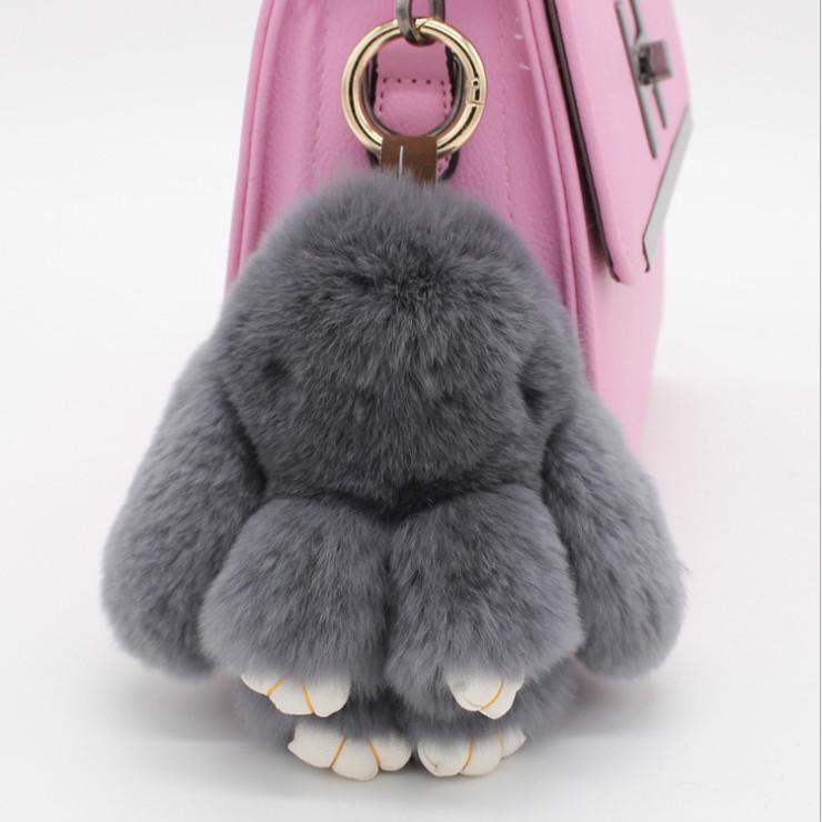 1pc Fluffy Keyring Faux Rabbit Fur Keychain Handbag Pendant Pompom Charm Gifts