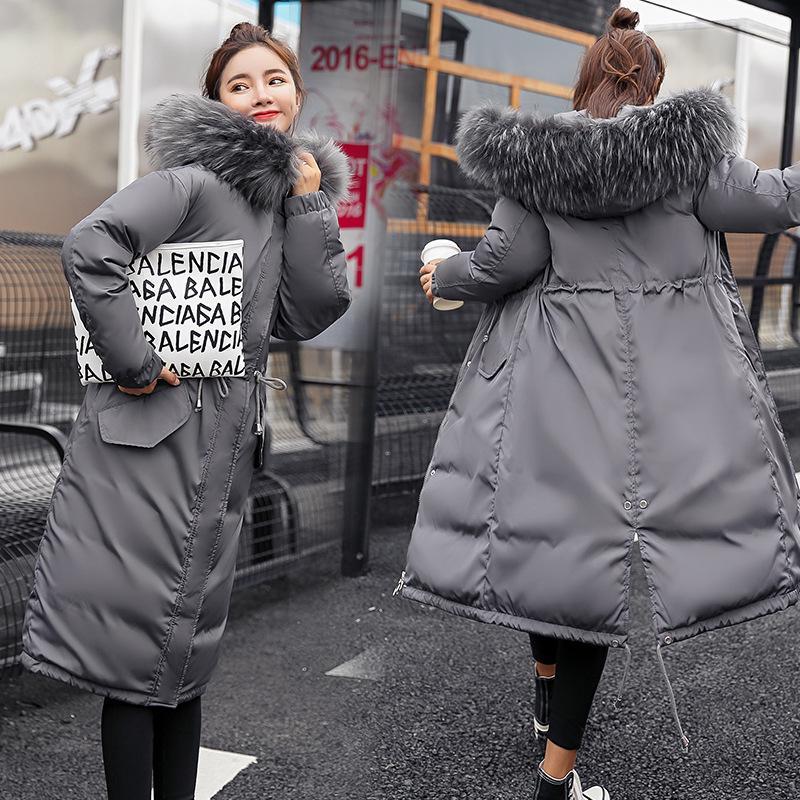 99b4e19fcf8db Женщины зимняя с капюшоном Пальто меховым воротником сгущаться ...