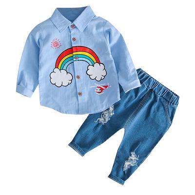 Raptop 1Set Kids Infant Baby Boy Letter Plaid T-Shirt Tops Denim Pants 2Pcs Set Outfits