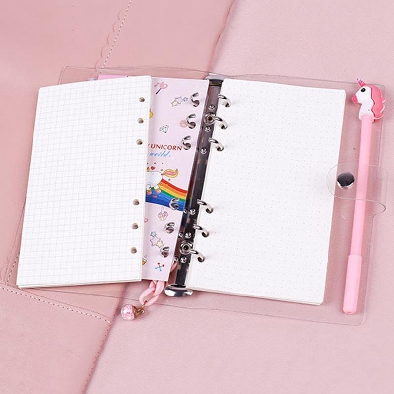 1 Pc Cartoon Unicorn Loose Leaf Notebook For Girls School Office