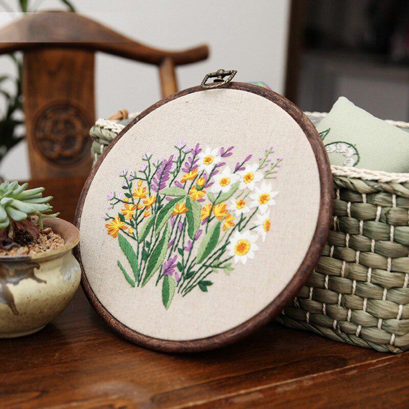 Modern Flower Plant Kit Beginner Embroidery Kit Hand Embroidery Full Kit-DIY Floral Needlepoint Wall Art Kit For Present