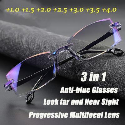 Ultralight Rimless Reading Glasses Diamond-cut Progressive Multifocal Presbyopia Eyeglasses Computer Goggles for Men and Women
