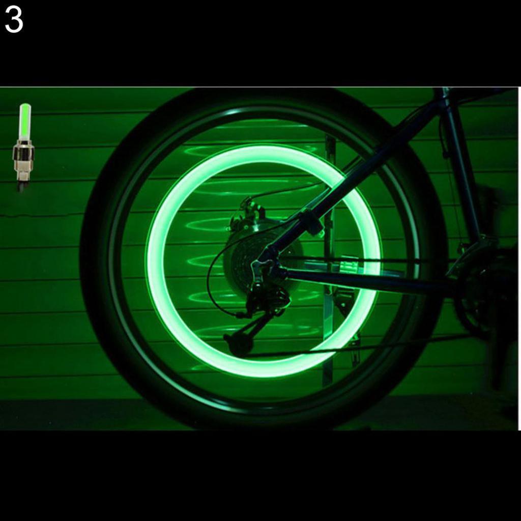 2X Chrome Wheel Valve Cap Flashing Light Fit Bicycle Cycling Bike Motorcycle HOT