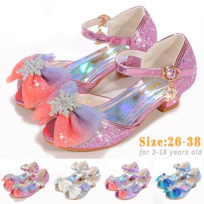 Summer Kids Girls Princess Sandals Small Heels for Girls Bows Decorative Children Dance Shoes Size 26-38