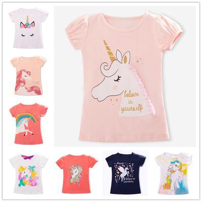 Color Unicorn Cat Unisex Childrens Short Sleeve T-Shirt Kids Or Little Boys and Girls