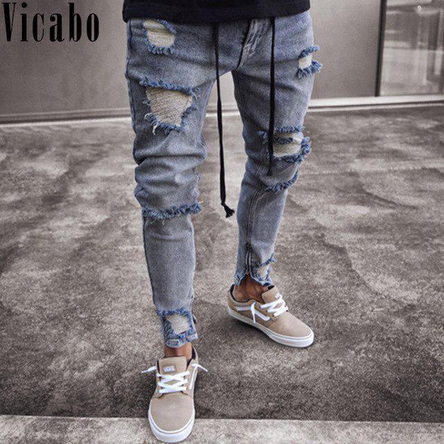 Vicabo cadera Casual hombres Jeans moda rodilla agujeros rasgados ... f3238616cac